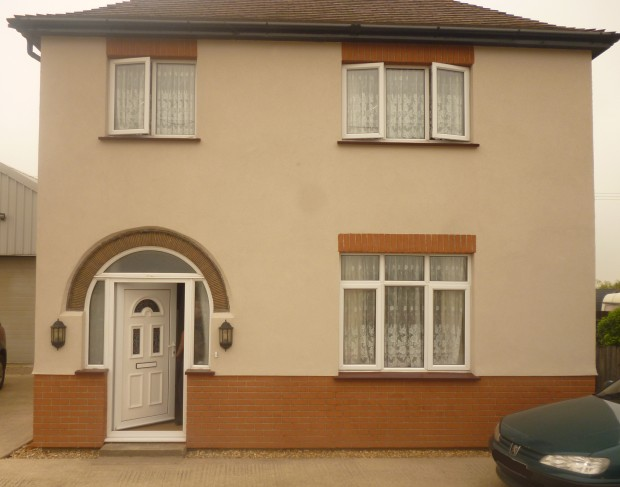 external wall insulation after you can see the brick work finish on bottom of the property