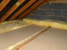 Loft insulation setting up