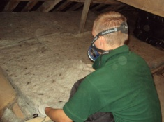 Laying down loft insulation